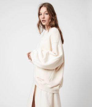 AllSaints Womens Iris Hsi Sweatshirt, Ecru White, Size: M