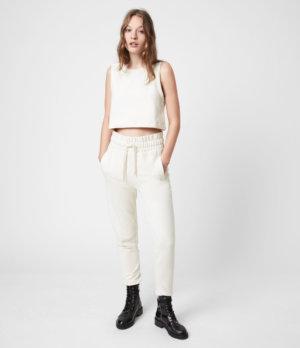 AllSaints Womens Lila Cropped Sweatpants, Ecru White, Size: 2