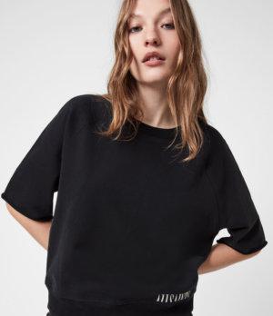 AllSaints Womens Lila Sweatshirt, Black, Size: S