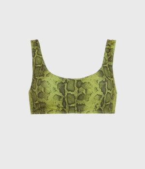 AllSaints Womens Olivia Reversible Bikini Top, Snake Green/black, Size: 4