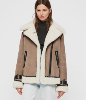 AllSaints Women's Priya Shearling Coat, Brown and White, Size: XS