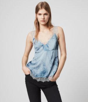 AllSaints Womens Skylar Hatsukoi Top, Blue, Size: 8