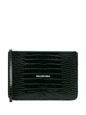 Balenciaga crocodile-effect clutch bag - Green
