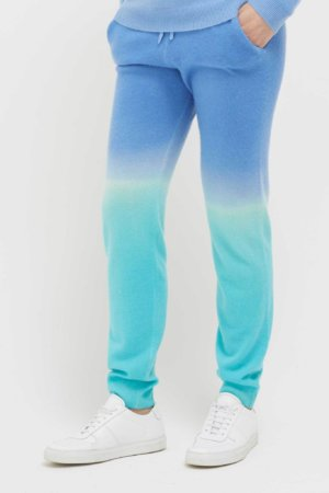 Blue Ombre Brushed-Cashmere Track Pants