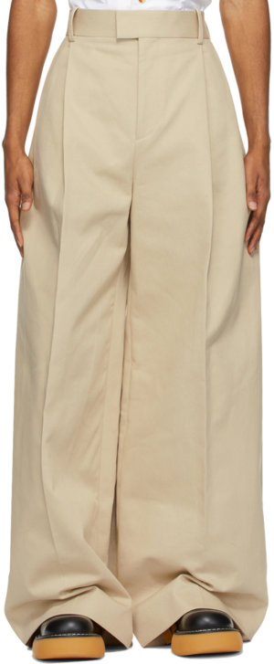 Bottega Veneta Beige Heavy Twill Wide-Leg Trousers