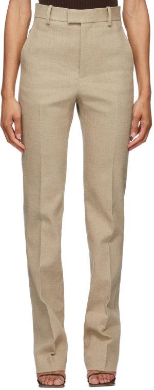 Bottega Veneta Beige Linen Stretch Canvas Trousers