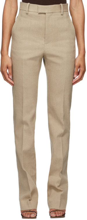 Bottega Veneta Beige Linen Stretch Canvas Trousers