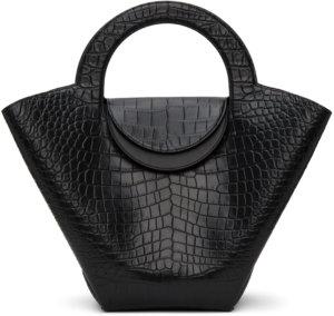 Bottega Veneta Black Croc Top Handle Tote