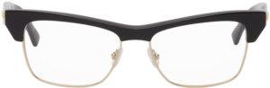 Bottega Veneta Black & Silver Cat-Eye Glasses