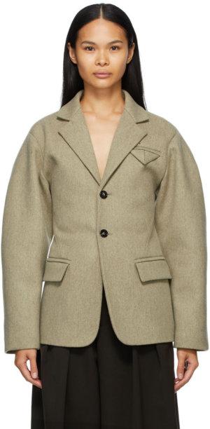 Bottega Veneta Taupe Wool Bowed Arm Coat
