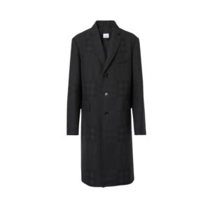 Burberry Check Wool Jacquard Tailored Coat