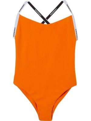 Burberry logo-tape swimsuit - Orange