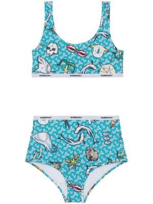 Burberry marine monogram-print bikini - Blue