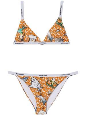Burberry marine-print triangle bikini - Orange