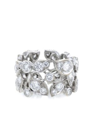 Cartier 18kt white gold diamond leaf band ring - Silver