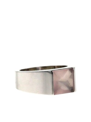 Cartier 2000s pre-owned 18kt white gold Tank medium ring - WHITE,PINK