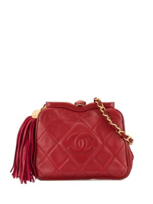 Chanel Pre-Owned 1989-1991 CC Logos Fringe Bum Bag - Red
