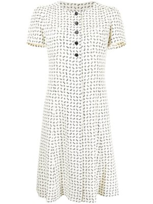 Chanel Pre-Owned 1997 logo bee print flared dress - White