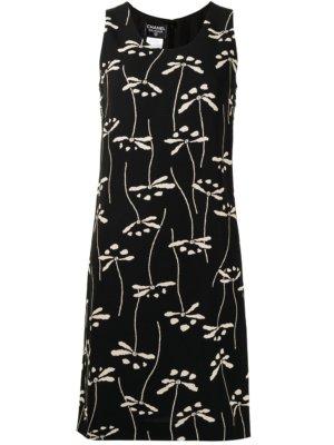 Chanel Pre-Owned 1998 floral print knee-length dress - Black