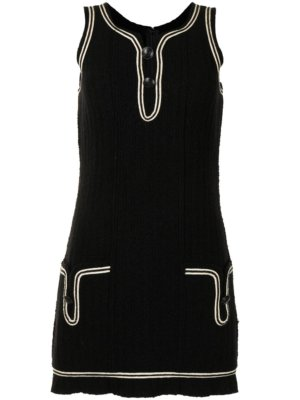 Chanel Pre-Owned 2007 contrast detailing woven mini dress - Black