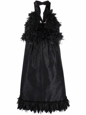 Chanel Pre-Owned 2007 ruffle appliqué halterneck minidress - Black