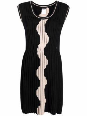 Chanel Pre-Owned 2010s wave-print wool dress - Black