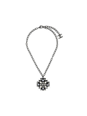 Chanel Pre-Owned embellished cross necklace - Metallic