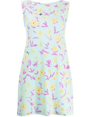 Chanel Pre-Owned floral sleeveless mini dress - Blue