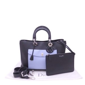 Christian Dior Purple/Blue Leather Diorissimo Pocket Tote Bag
