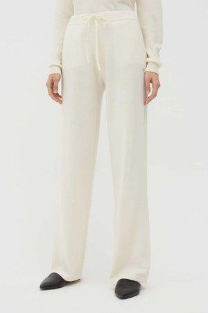 Cream Cashmere Wide-Leg Pants