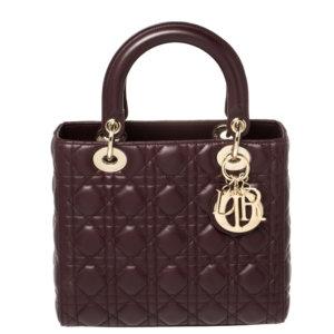 Dior Burgundy Cannage Leather Medium Lady Dior Tote