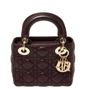Dior Burgundy Cannage Leather Mini Chain Lady Dior Tote