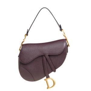 Dior Burgundy Leather Saddle Bag