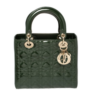Dior Dark Green Cannage Patent Leather Medium Lady Dior Tote