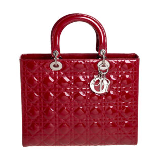 Dior Dark Red Cannage Patent Leather Large Lady Dior Tote