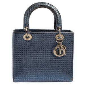 Dior Metallic Blue Microcannage Leather Medium Lady Dior Tote