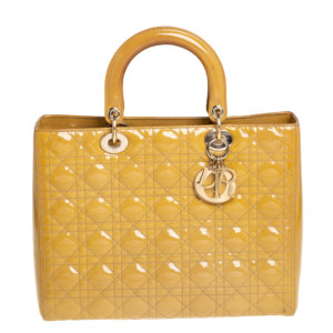 Dior Mustard Yellow Cannage Patent Leather Large Lady Dior Tote