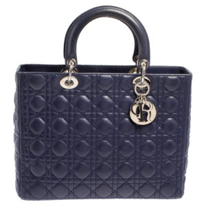 Dior Navy Blue Cannage Leather Large Lady Dior Tote