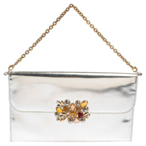 Dior Silver Patent Leather Flap Embellished Chain Clutch