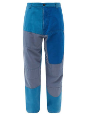 Eye/loewe/nature - Patchwork Cotton Trousers - Mens - Blue