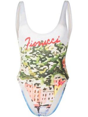 Fiorucci Portofino logo-print swimsuit - Multicolour