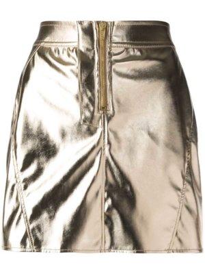 Fiorucci metallic zip front mini skirt - Gold