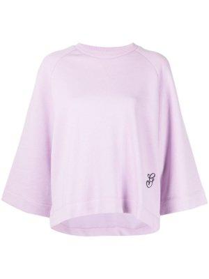 GANNI Isoli embroidered-logo sweatshirt - Purple