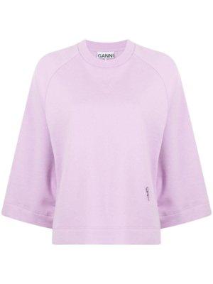 GANNI Isoli logo-embroidered sweatshirt - Pink