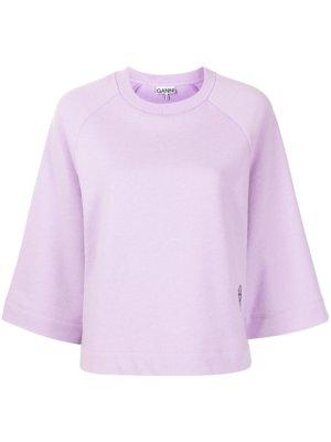 GANNI Isoli logo-embroidered sweatshirt - Purple