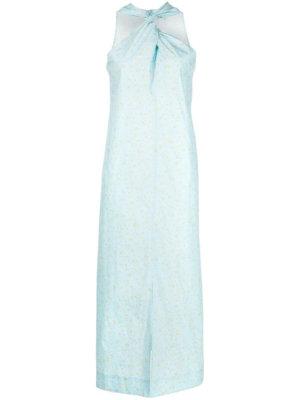 GANNI floral-print twist dress - Blue