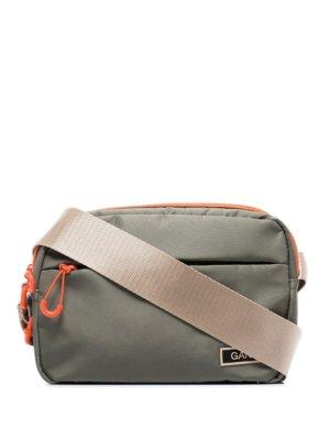 GANNI logo-patch crossbody bag - Green