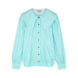Ganni Blue Floral-print Cotton Blouse