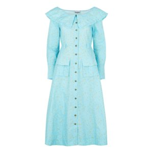 Ganni Blue Floral-print Cotton Midi Dress