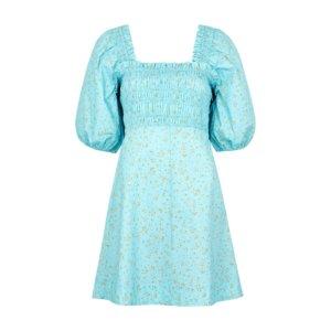 Ganni Blue Floral-print Cotton Mini Dress